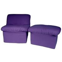 Tween Cloud Chair and Ottoman in Purple Canvas