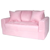 Kids Sofa Sleeper in Pink Micro Suede