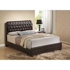 Jayden Leatherette Bed - Brown, Button Tufted