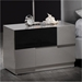 Bianca Nightstand, High Gloss Gray and Black - GLO-BIANCA-916-GR-BL-NS