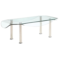 Crystal Rectangular Coffee Table with Clear Glass Top