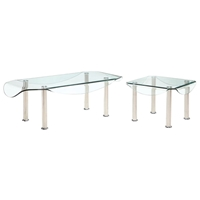 Crystal Coffee and End Table Set with Clear Glass Top