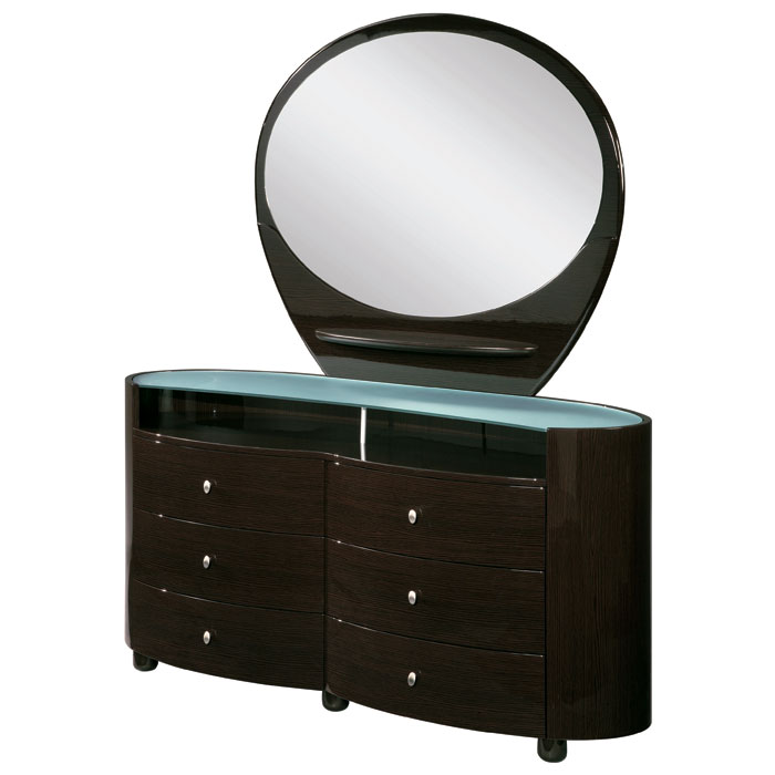 Emily Contemporary Oval Dresser with Mirror - GLO-EMILY-XX-DR-M