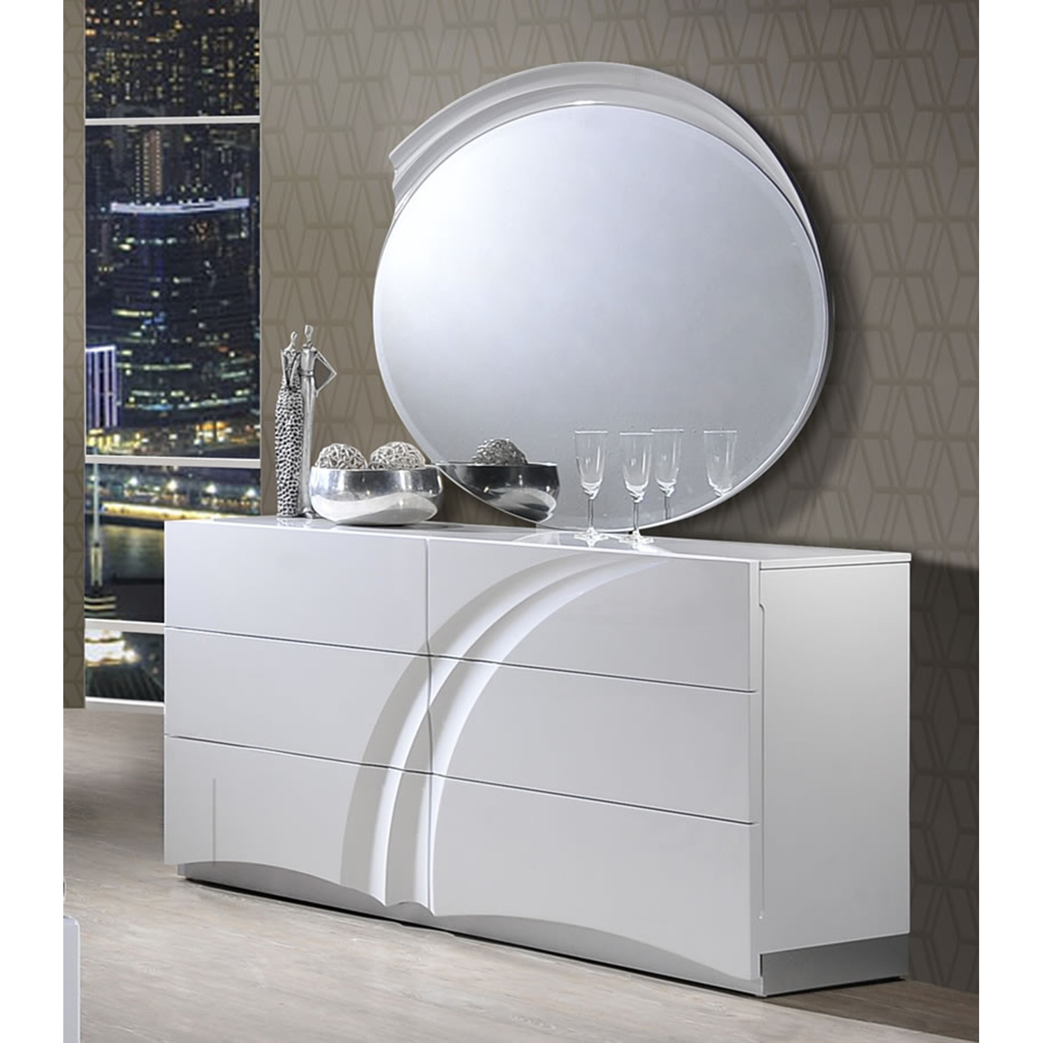 Eva Dresser in High Gloss White - GLO-EVA-120-D