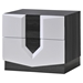 Hudson Nightstand in High Gloss Zebra Gray and White - GLO-HUDSON-988-NS