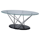 Zoey Coffee Table - Clear/Chrome/Black