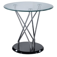 Zoey End Table - Clear/Chrome/Black