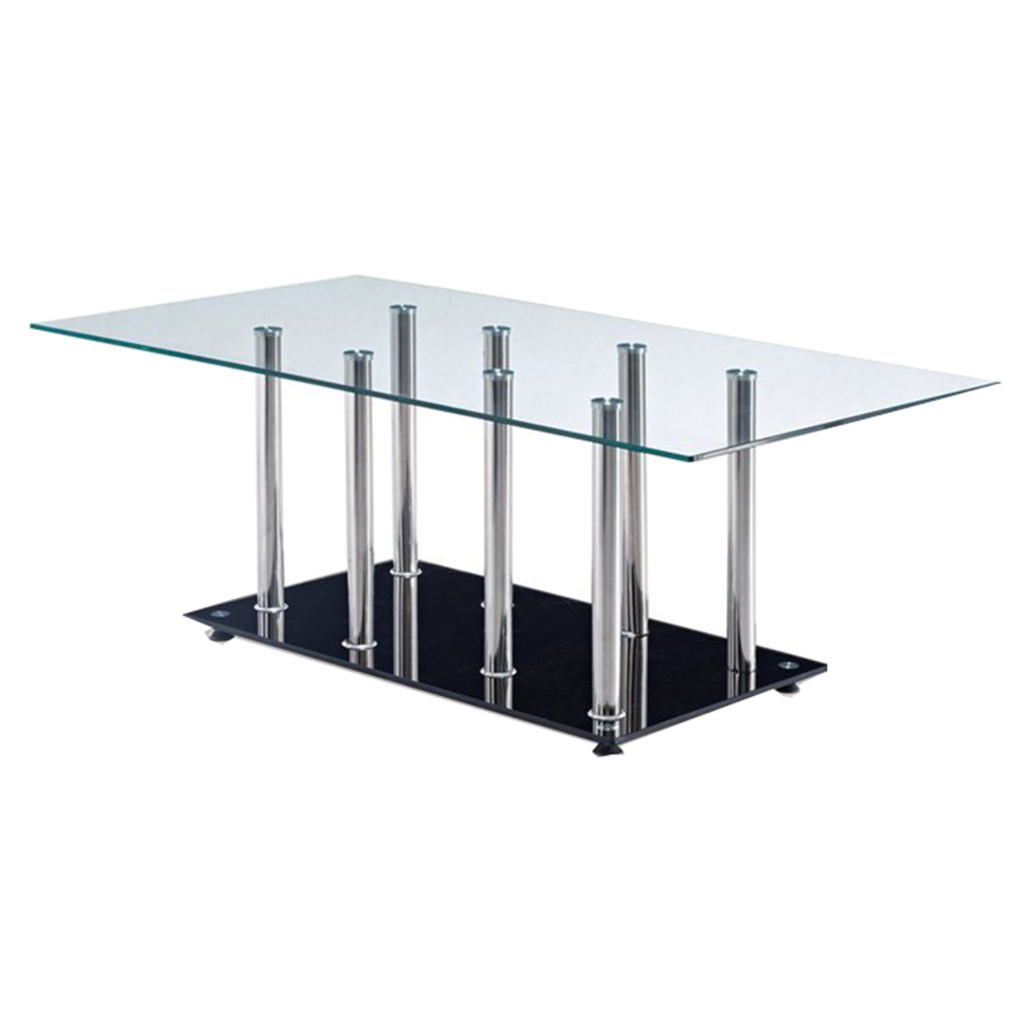 Aubrey Coffee Table - Clear/Black/Stainless Steel