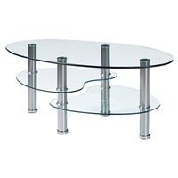 Michelle Coffee Table - Clear Glass, Stainless Steel Legs