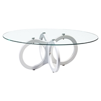 Amelia Coffee Table - Clear Glass, High Gloss White Legs