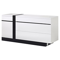 Trinity Dresser in White with Black Glossy Finish