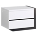 Trinity Right Nightstand - White with Black Glossy Finish - GLO-TRINITY-NS-R
