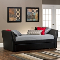 Natalie Upholstered Daybed & Trundle - Black, Denim Look Arms