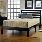 Aiden Black Twin Platform Bed with Horizontal Slats