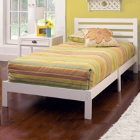 Aiden White Twin Platform Bed with Horizontal Slats