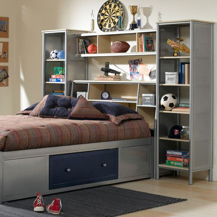 Universal Platform Bed with Bookcase Headboard and Wall Storage