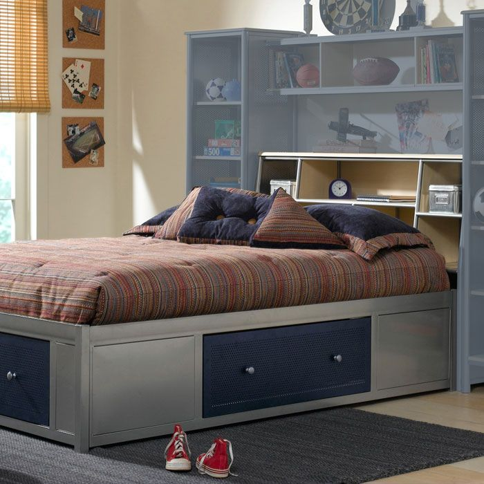 Universal Youth Storage Platform Bed with Bookcase Headboard