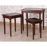 Victorian Wood Nesting Tables Set - Mahogany Stain
