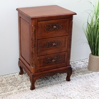Windsor 3 Drawer End Table/Nightstand - Mahogany Stain