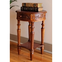 Windsor Round Top End Table - Mahogany Stain Finish