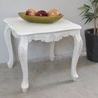 Antique White End Table - Cabriole Legs