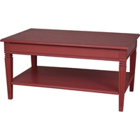 Ashbury Arte Coffee Table - 1 Shelf, Antique Red