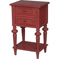 Ashbury Perles Side Table - 2 Drawers, Antique Red