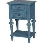 Ashbury Perles Side Table - 2 Drawers, Antique Blue