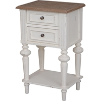Ashbury Perles Side Table - 2 Drawers, Antique White