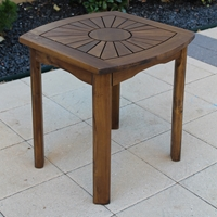 Sunburst Wooden Patio Side Table