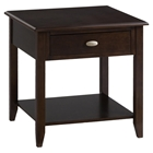 Merlot End Table - 1 Drawer, 1 Shelf