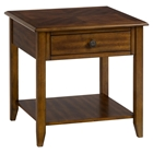 Medium Brown End Table - Square, 1 Drawer