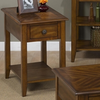 Medium Brown Chairside Table - 1 Drawer, 1 Shelf