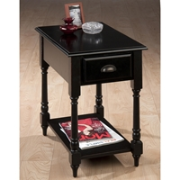 Antique Black Chairside Table - 1 Drawer