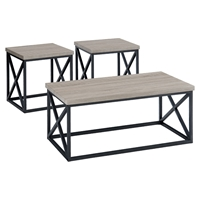 Orion Occasional Tables Set - Metal Base, X-Side, Ash Veneer Top