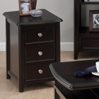 Coronado 3 Drawers Chairside Table - Espresso