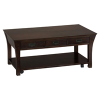 Artisan Cocktail Table - Rectangular, Casters, 3 Drawers