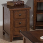 Clay County Chairside Table - 3 Drawers, Oak
