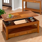 Sedona Oak Cocktail Table - Lift Top, 2 Drawers, Casters