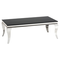 Tuxedo Cocktail Table - Stainless Steel and Black