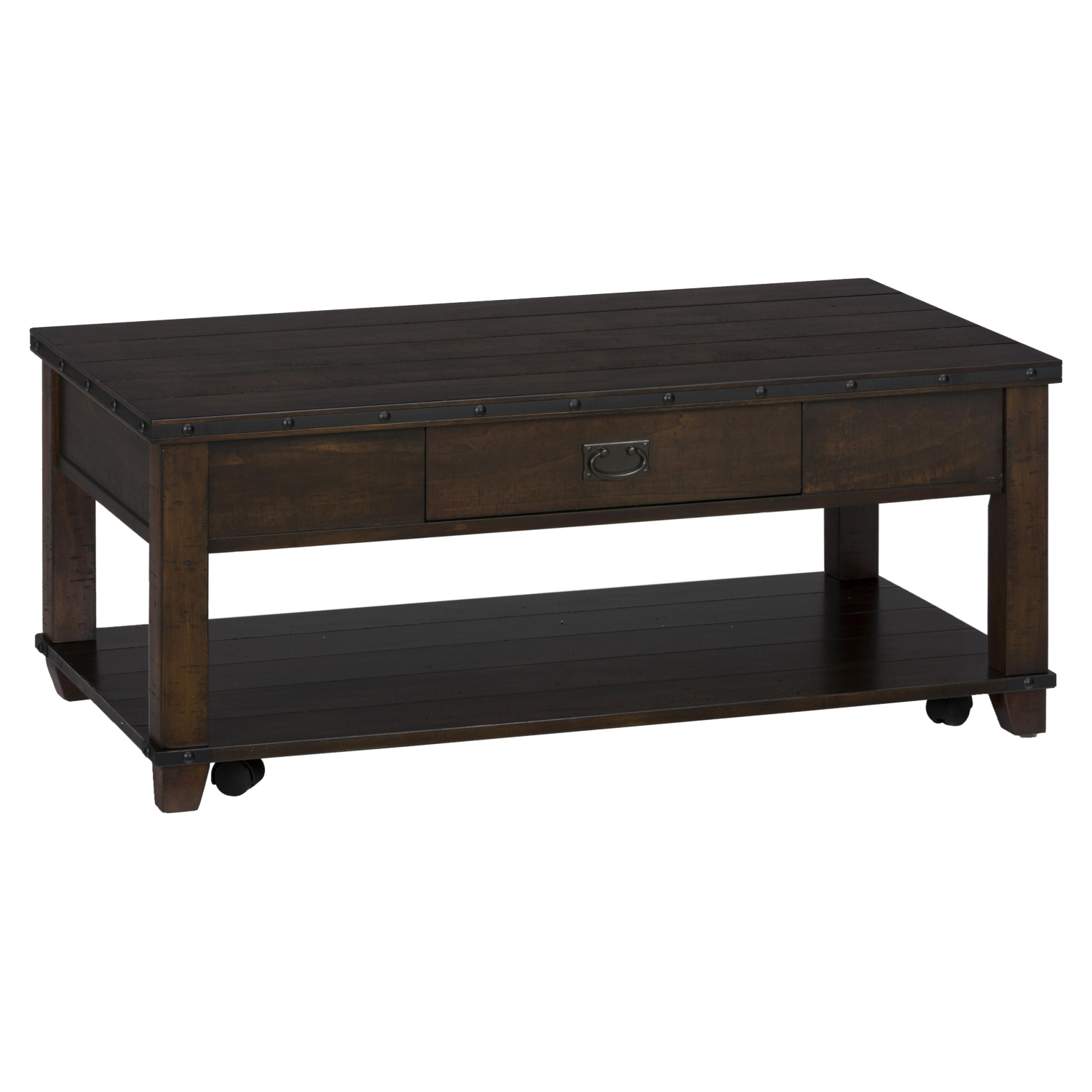 Cassidy Cocktail Table - Plank Top, Dark Brown