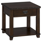 Cassidy End Table - Plank Top, Dark Brown