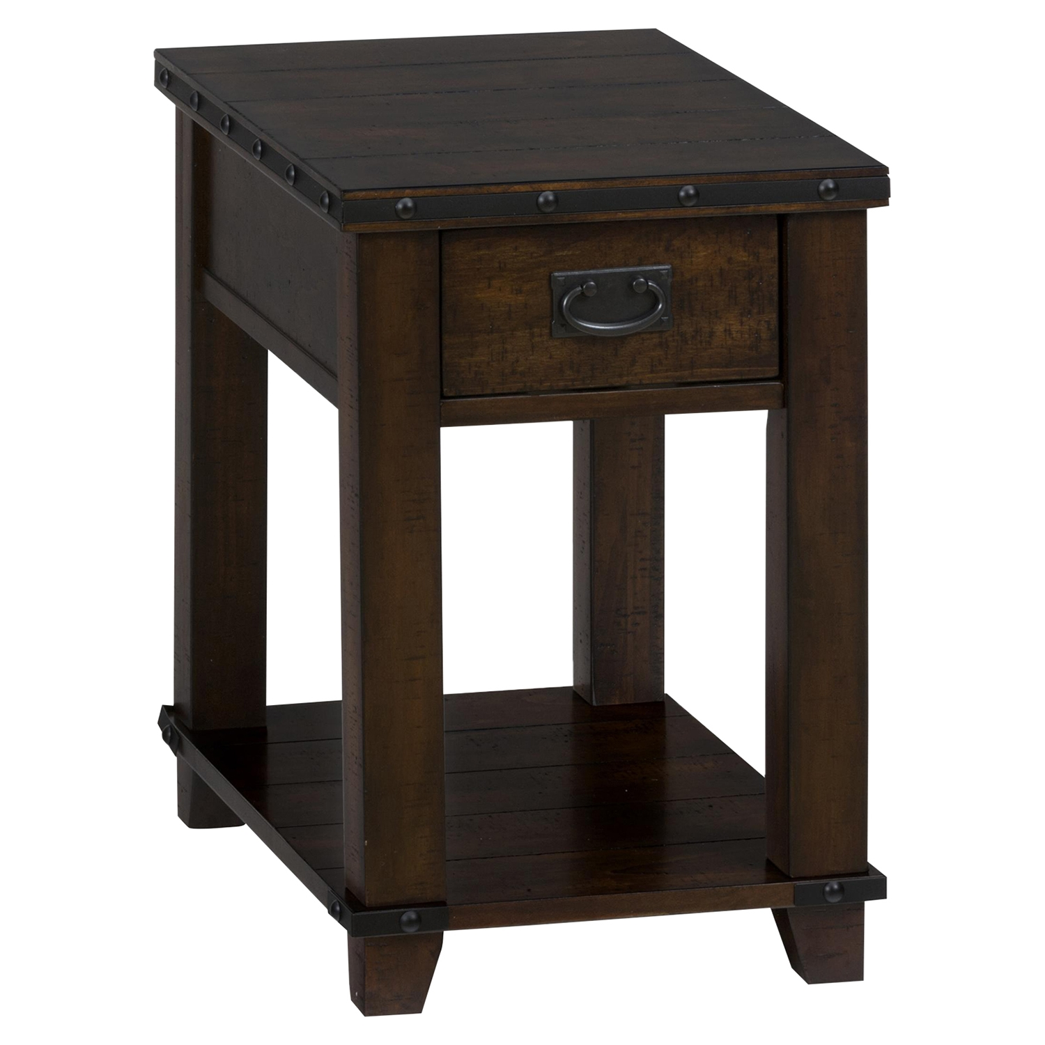 Cassidy Chairside Table - Plank Top, Dark Brown - JOFR-561-7