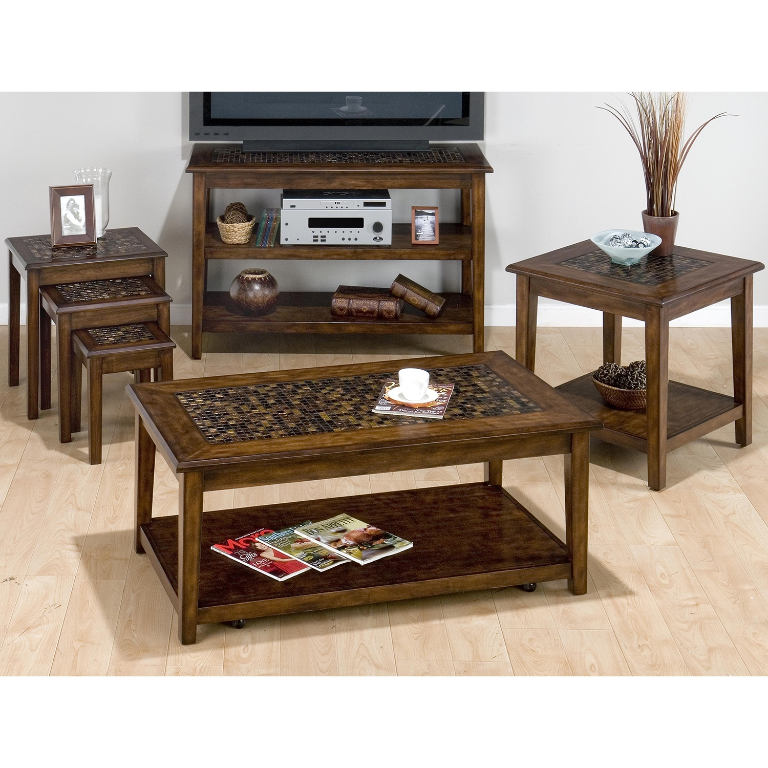 Baroque Cocktail Table - Mosaic Tile Inlay, Hidden Casters, Brown - JOFR-698-1