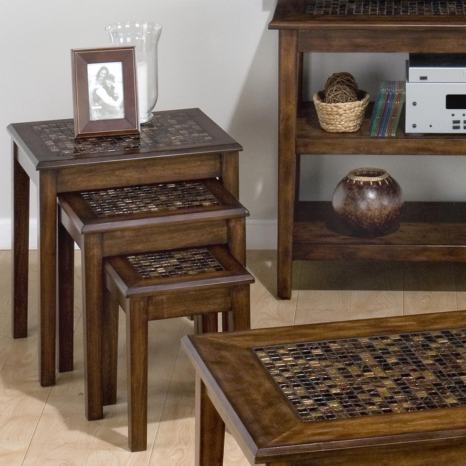 Baroque Nesting Tables - Mosaic Tile Inlay, Brown - JOFR-698-7