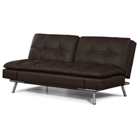 Matrix Double Cushion Leather Look Convertible Sofa