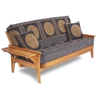 Santa Cruz Futon Frame with Tray Up in Medium Oak