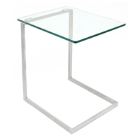 Zenn Tempered Glass Top End Table with Stainless Steel Legs