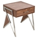 Tetra End Table - Walnut, Stainless Steel Silver - LMS-TBE-TETRA-WL-SS