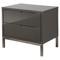 Naples Nightstand - 2 Drawers, Gray